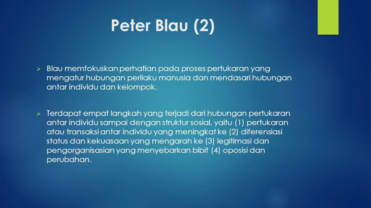 Peter Blau (2)  Blau memfokuskan perhatian pada proses pertukaran yang mengatur hubungan perilaku manusia dan mendasari hubungan antar individu dan k