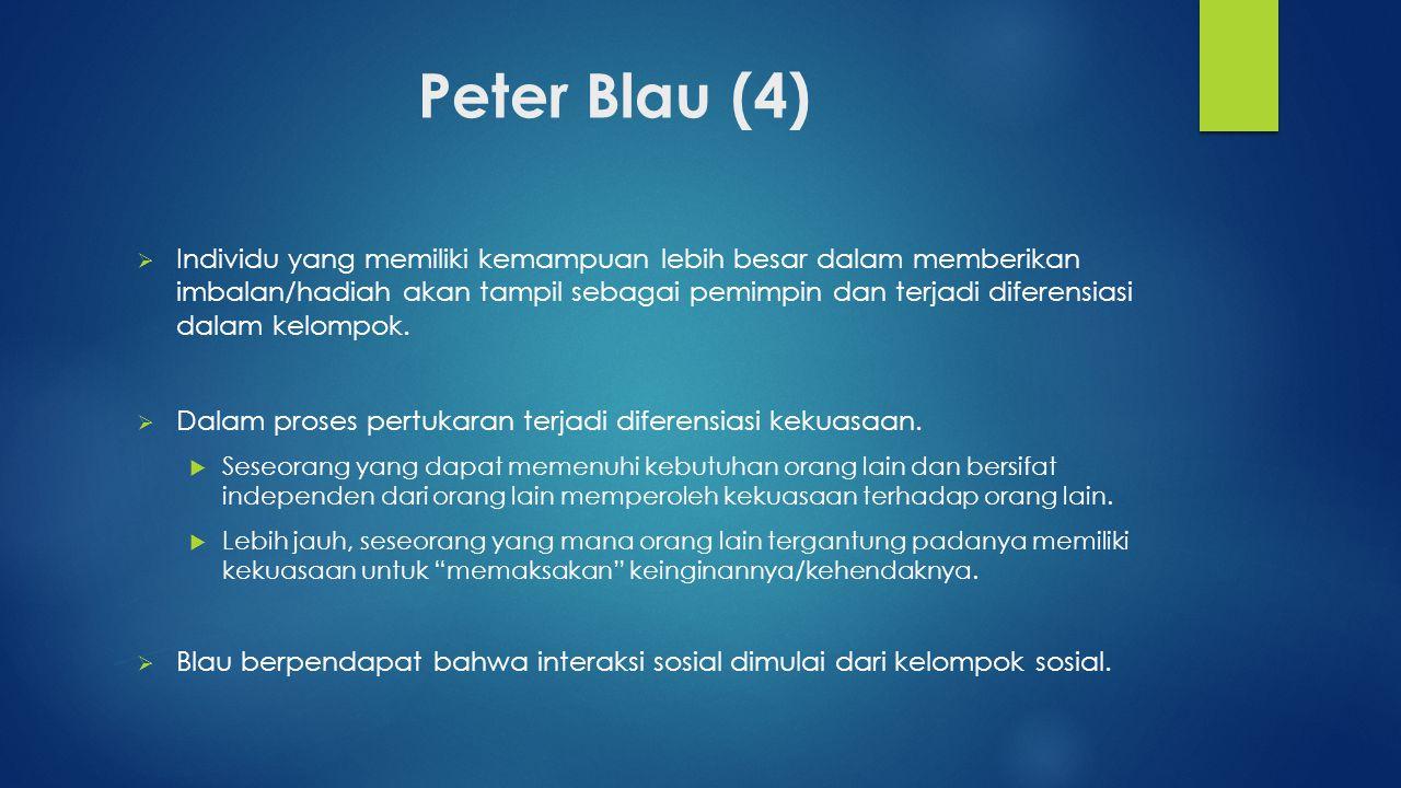 Peter Blau (4)  Individu yang memiliki kemampuan lebih besar dalam memberikan imbalan/hadiah akan tampil sebagai pemimpin dan terjadi diferensiasi da