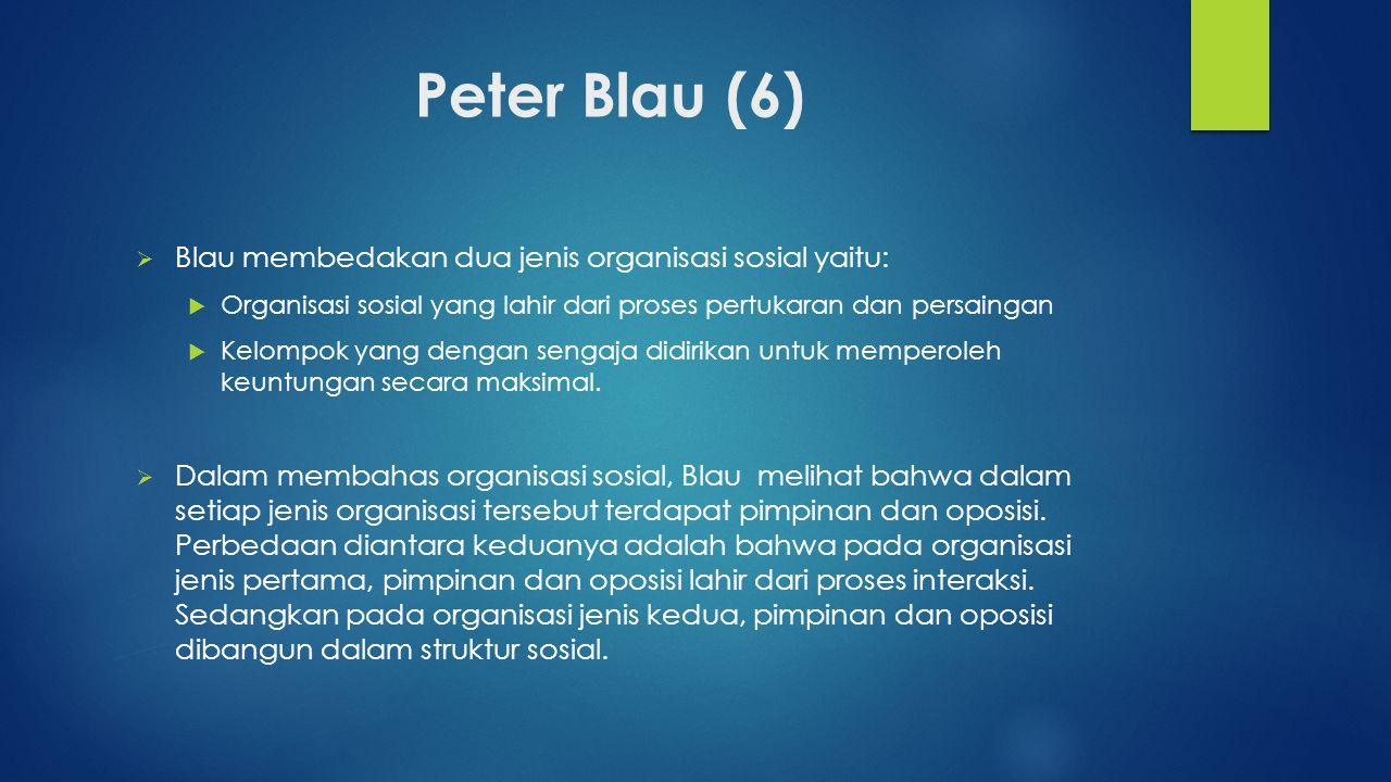 Peter Blau (6)  Blau membedakan dua jenis organisasi sosial yaitu:  Organisasi sosial yang lahir dari proses pertukaran dan persaingan  Kelompok ya