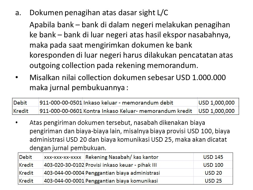 a.Dokumen penagihan atas dasar sight L/C Apabila bank – bank di dalam negeri melakukan penagihan ke bank – bank di luar negeri atas hasil ekspor nasab
