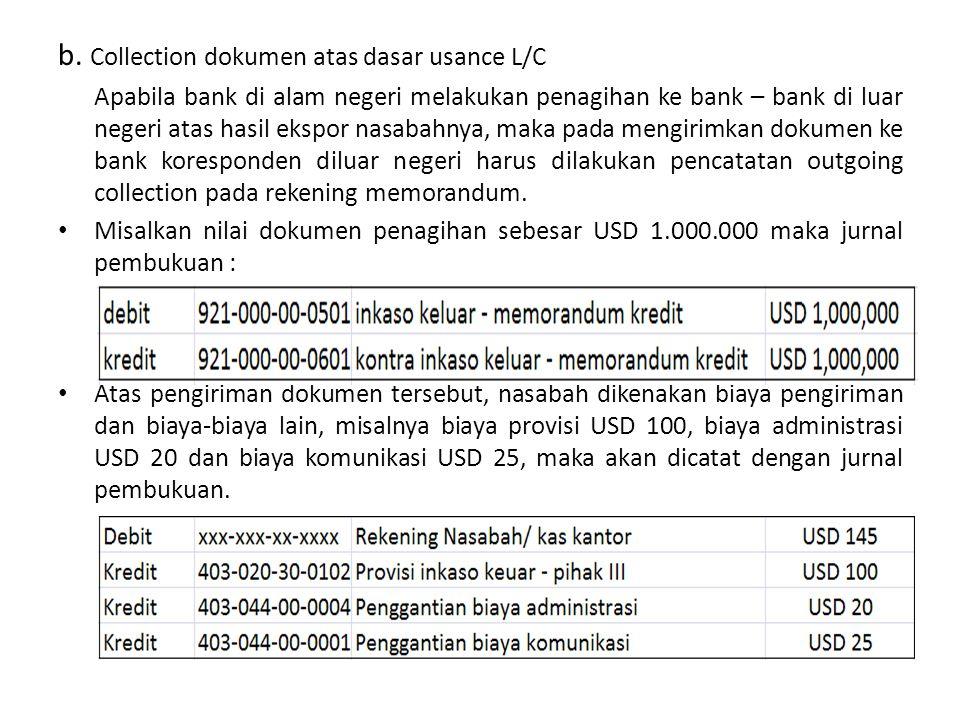 b. Collection dokumen atas dasar usance L/C Apabila bank di alam negeri melakukan penagihan ke bank – bank di luar negeri atas hasil ekspor nasabahnya