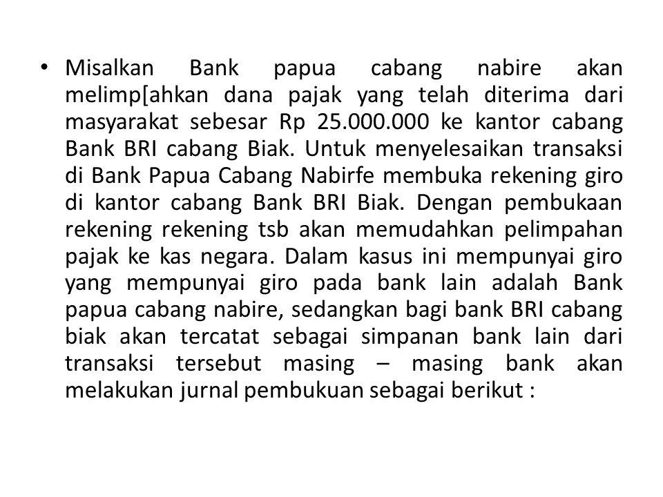Misalkan Bank papua cabang nabire akan melimp[ahkan dana pajak yang telah diterima dari masyarakat sebesar Rp 25.000.000 ke kantor cabang Bank BRI cab