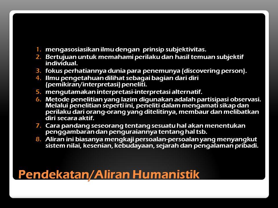 Pendekatan/Aliran Humanistik 1.mengasosiasikan ilmu dengan prinsip subjektivitas.