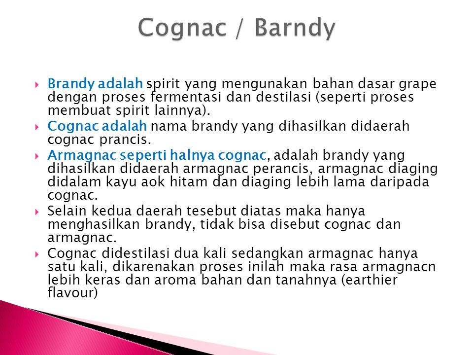  Brandy adalah spirit yang mengunakan bahan dasar grape dengan proses fermentasi dan destilasi (seperti proses membuat spirit lainnya).  Cognac adal