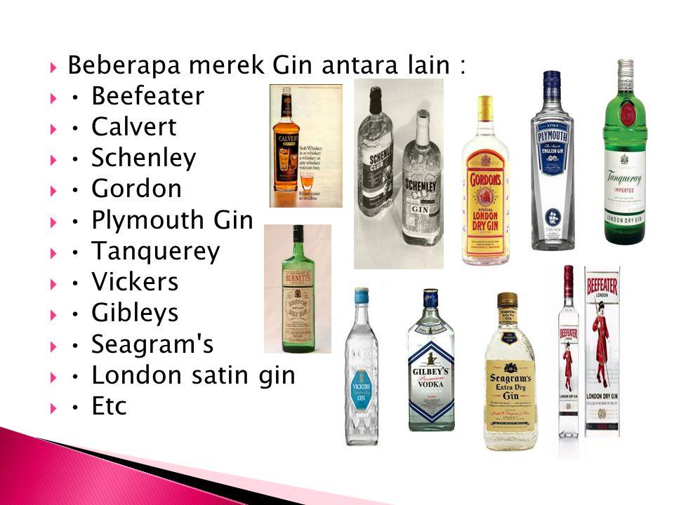  Beberapa merek Gin antara lain :  Beefeater  Calvert  Schenley  Gordon  Plymouth Gin  Tanquerey  Vickers  Gibleys  Seagram's  London satin