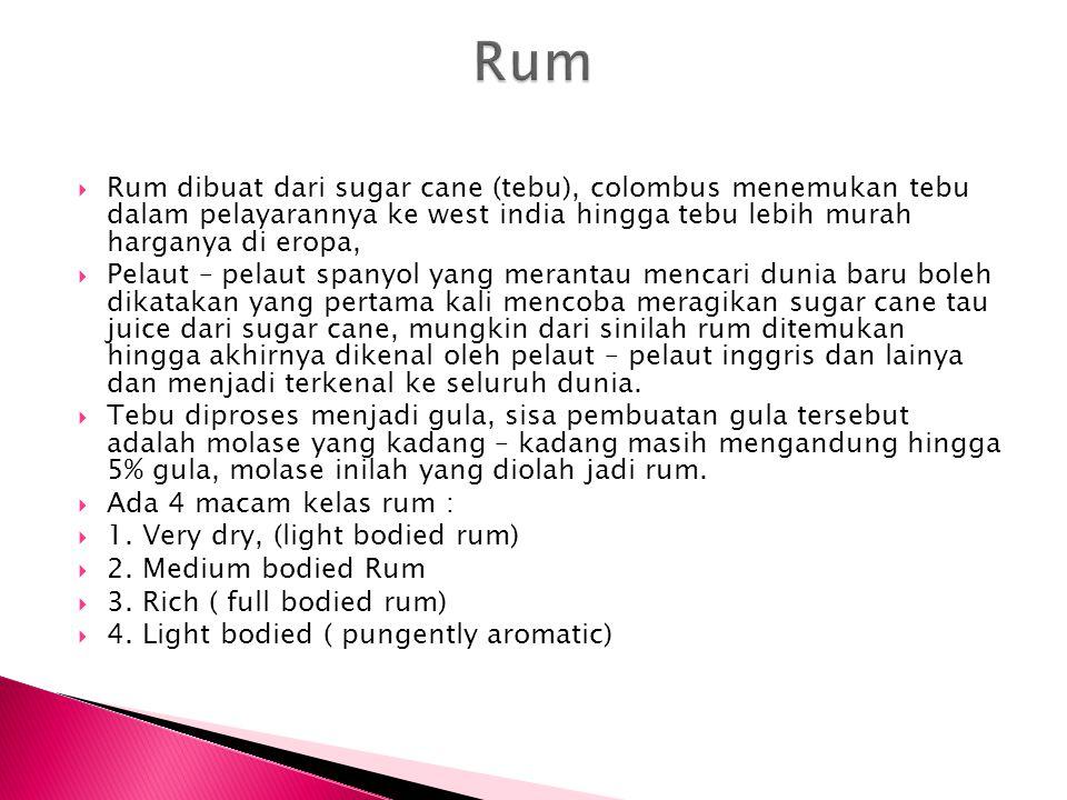  Rum dibuat dari sugar cane (tebu), colombus menemukan tebu dalam pelayarannya ke west india hingga tebu lebih murah harganya di eropa,  Pelaut – pe