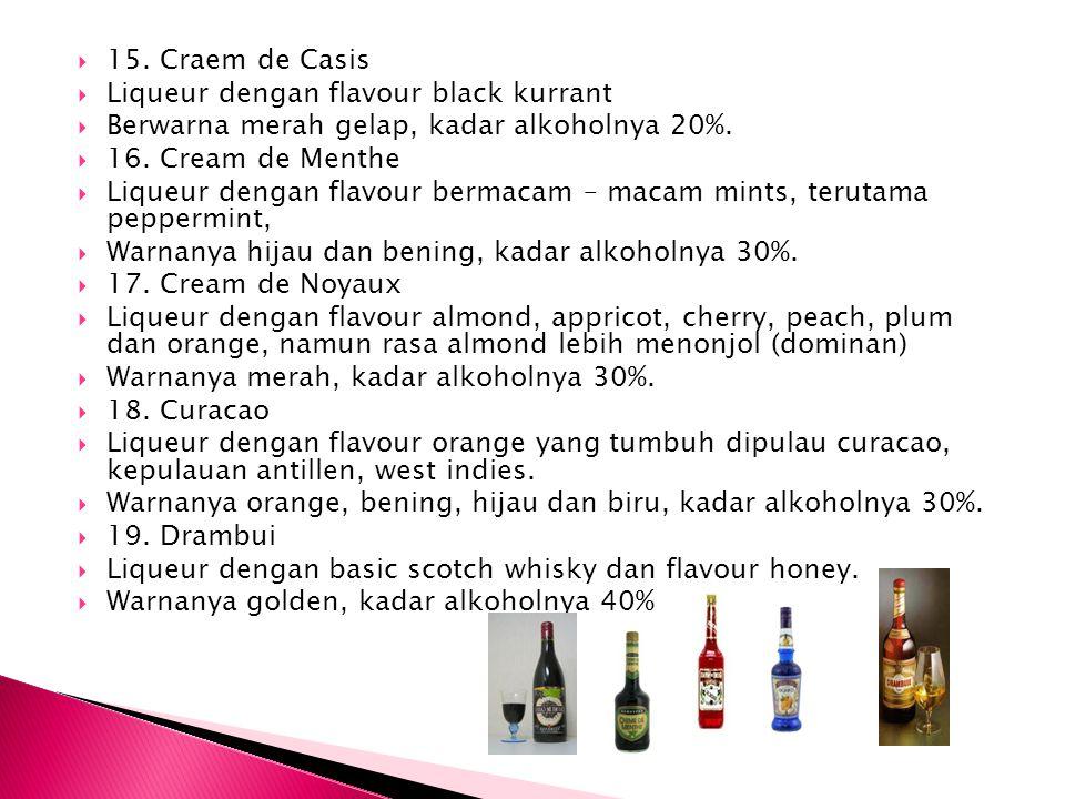  15. Craem de Casis  Liqueur dengan flavour black kurrant  Berwarna merah gelap, kadar alkoholnya 20%.  16. Cream de Menthe  Liqueur dengan flavo
