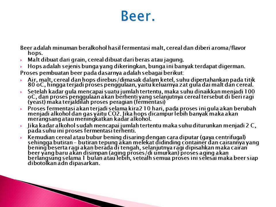 Beer adalah minuman beralkohol hasil fermentasi malt, cereal dan diberi aroma/flavor hops.  Malt dibuat dari grain, cereal dibuat dari beras atau jag