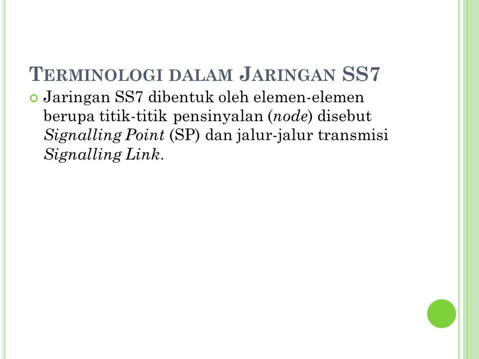 T ERMINOLOGI DALAM J ARINGAN SS7 Jaringan SS7 dibentuk oleh elemen-elemen berupa titik-titik pensinyalan ( node ) disebut Signalling Point (SP) dan ja