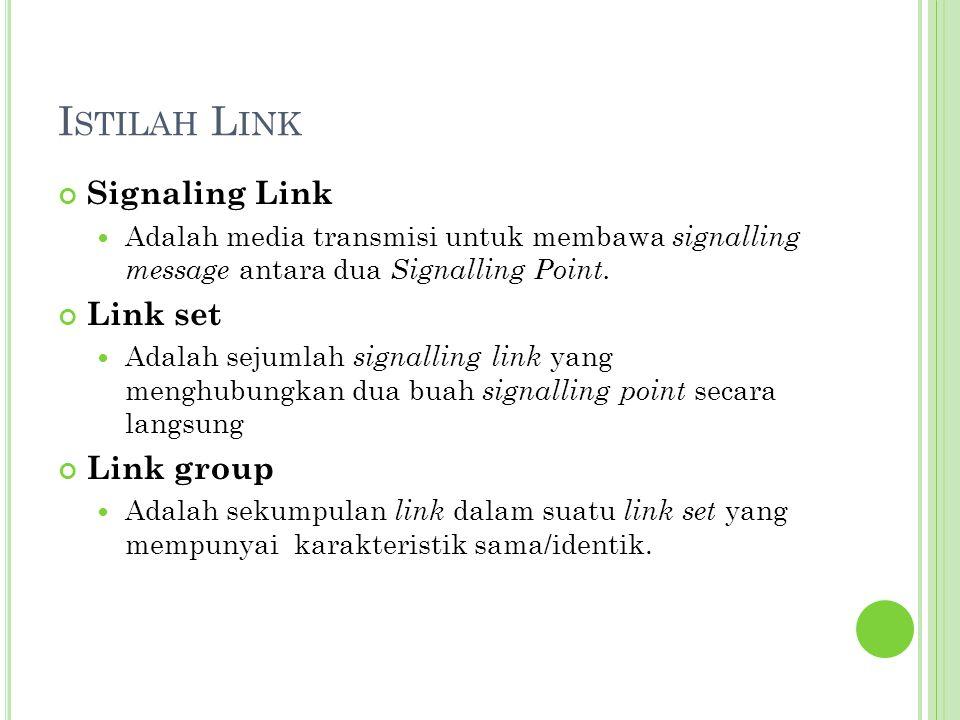 I STILAH L INK Signaling Link Adalah media transmisi untuk membawa signalling message antara dua Signalling Point. Link set Adalah sejumlah signalling