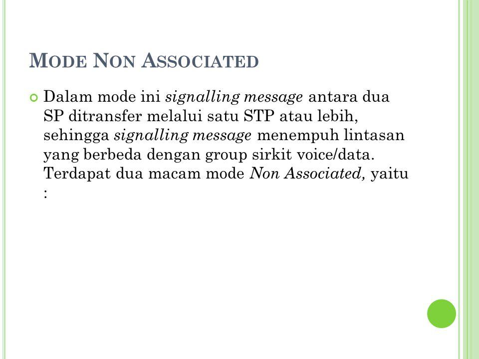 M ODE N ON A SSOCIATED Dalam mode ini signalling message antara dua SP ditransfer melalui satu STP atau lebih, sehingga signalling message menempuh li