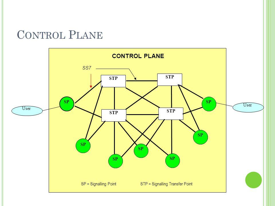 C ONTROL P LANE STP User STP User SP CONTROL PLANE SP = Signalling Point STP = Signalling Transfer Point SP SS7