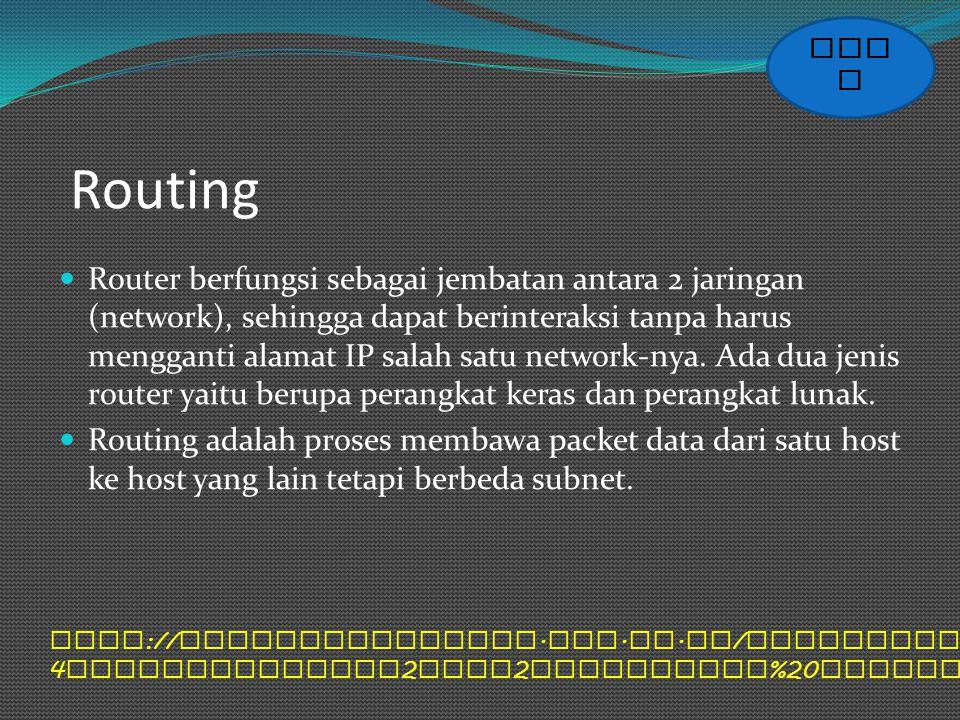Routing Router berfungsi sebagai jembatan antara 2 jaringan (network), sehingga dapat berinteraksi tanpa harus mengganti alamat IP salah satu network-