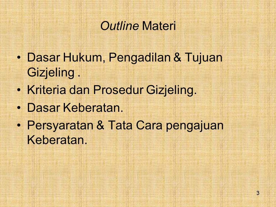 Outline Materi Dasar Hukum, Pengadilan & Tujuan Gizjeling. Kriteria dan Prosedur Gizjeling. Dasar Keberatan. Persyaratan & Tata Cara pengajuan Keberat