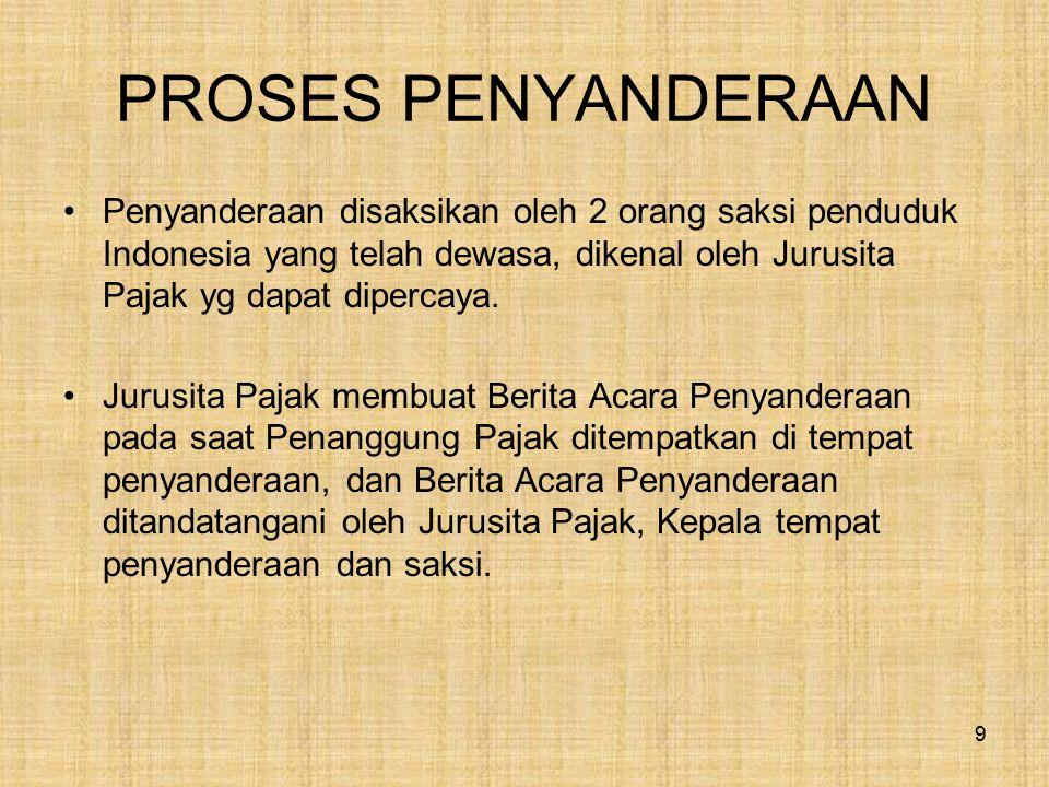PROSES PENYANDERAAN Penyanderaan disaksikan oleh 2 orang saksi penduduk Indonesia yang telah dewasa, dikenal oleh Jurusita Pajak yg dapat dipercaya. J