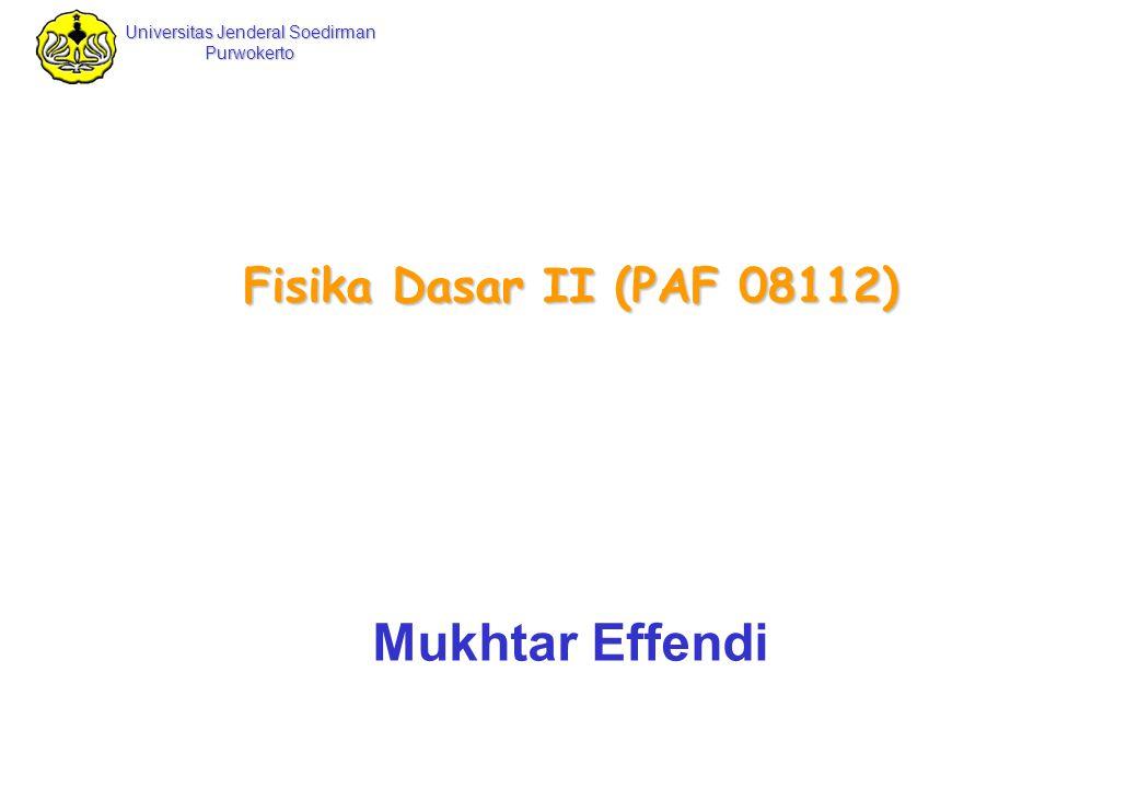 Universitas Jenderal Soedirman Purwokerto Fisika Dasar II Mukhtar Effendi Fisika Dasar II 2