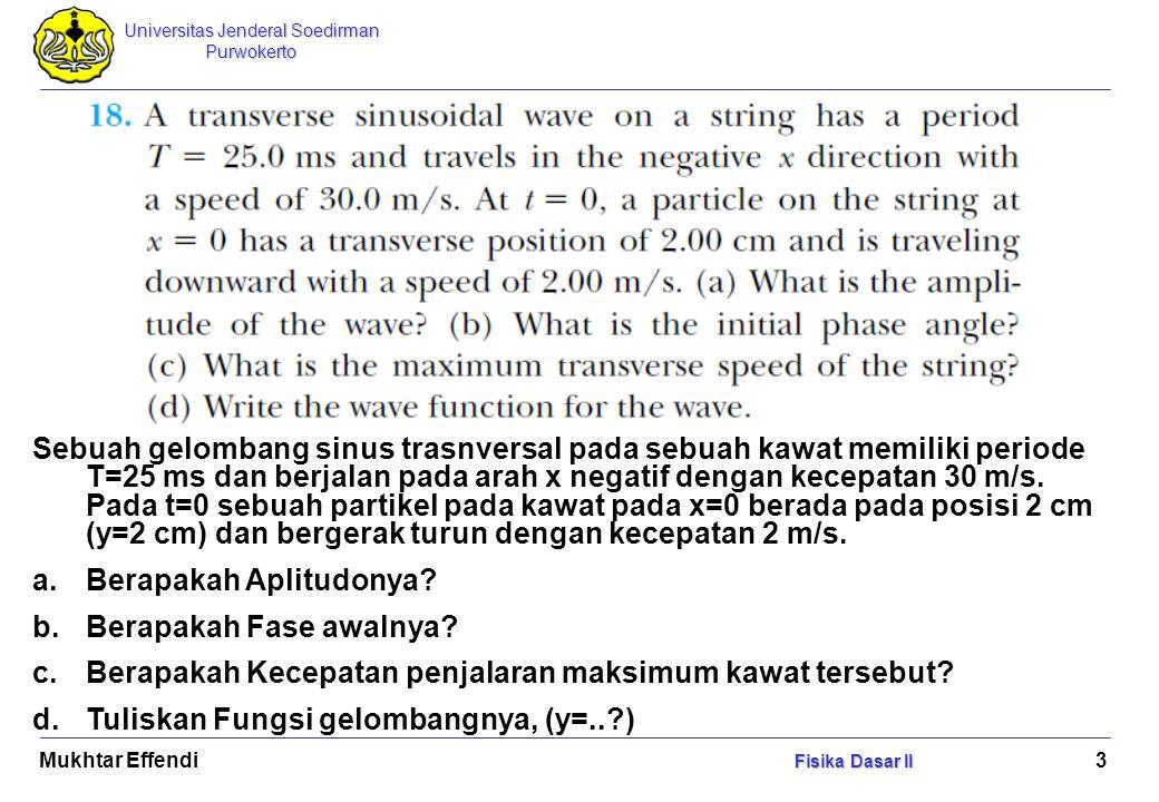 Universitas Jenderal Soedirman Purwokerto Fisika Dasar II Mukhtar Effendi Fisika Dasar II 14