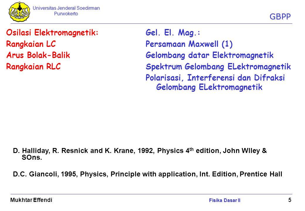 Universitas Jenderal Soedirman Purwokerto Fisika Dasar II Mukhtar Effendi Fisika Dasar II 16