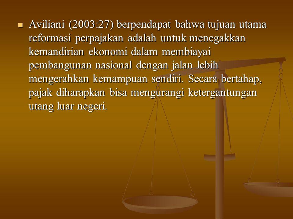 Aviliani (2003:27) berpendapat bahwa tujuan utama reformasi perpajakan adalah untuk menegakkan kemandirian ekonomi dalam membiayai pembangunan nasiona