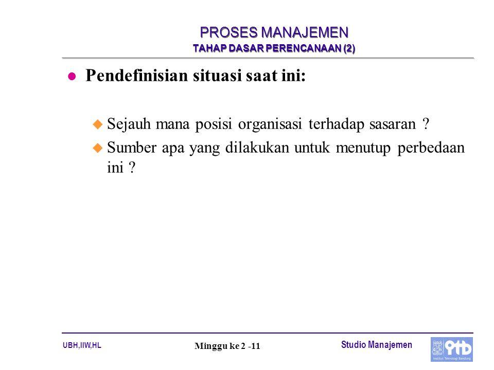 UBH,IIW,HL Studio Manajemen Minggu ke 2 -11 PROSES MANAJEMEN TAHAP DASAR PERENCANAAN (2) l Pendefinisian situasi saat ini: u Sejauh mana posisi organi