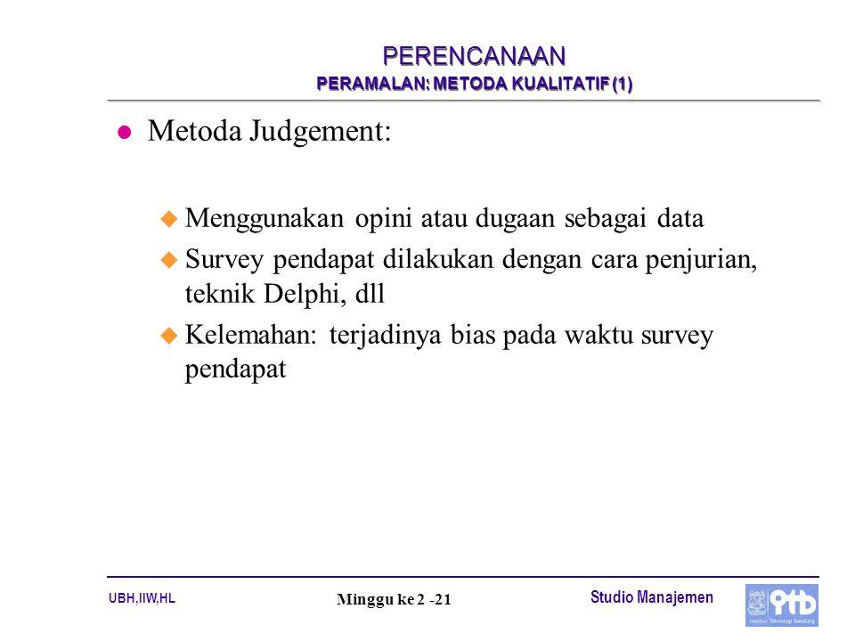UBH,IIW,HL Studio Manajemen Minggu ke 2 -21 PERENCANAAN PERAMALAN: METODA KUALITATIF (1) l Metoda Judgement: u Menggunakan opini atau dugaan sebagai d