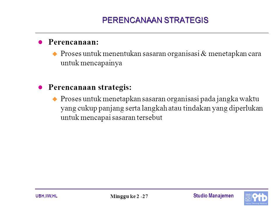 UBH,IIW,HL Studio Manajemen Minggu ke 2 -27 PERENCANAAN STRATEGIS l Perencanaan: u Proses untuk menentukan sasaran organisasi & menetapkan cara untuk