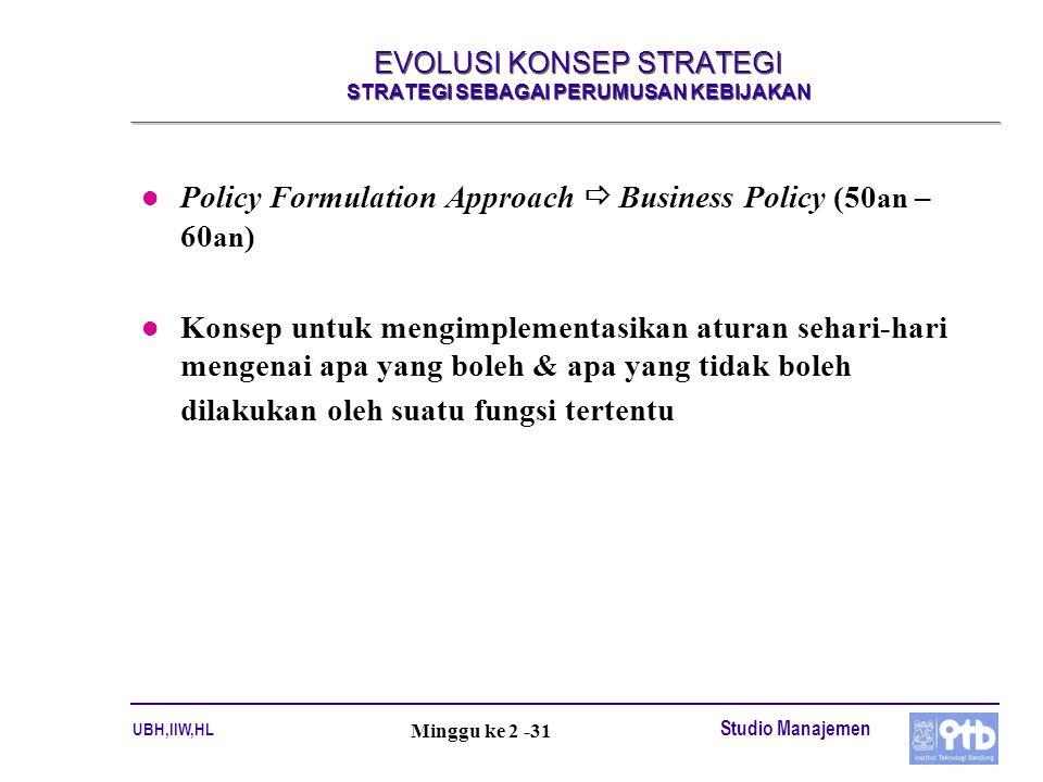 UBH,IIW,HL Studio Manajemen Minggu ke 2 -31 EVOLUSI KONSEP STRATEGI STRATEGI SEBAGAI PERUMUSAN KEBIJAKAN l Policy Formulation Approach  Business Poli