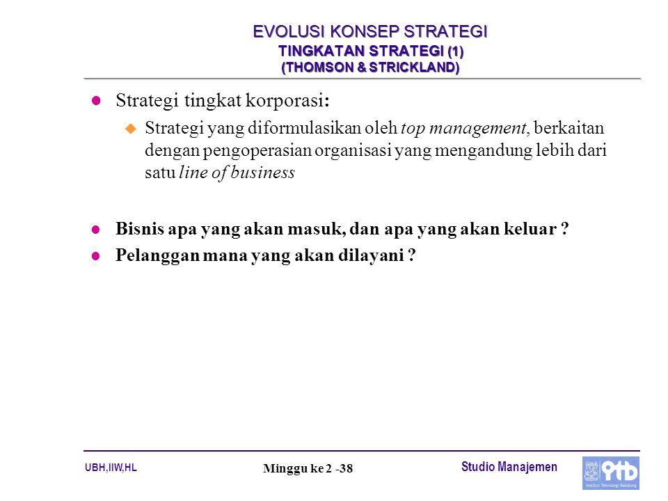 UBH,IIW,HL Studio Manajemen Minggu ke 2 -38 EVOLUSI KONSEP STRATEGI TINGKATAN STRATEGI (1) (THOMSON & STRICKLAND) l Strategi tingkat korporasi: u Stra