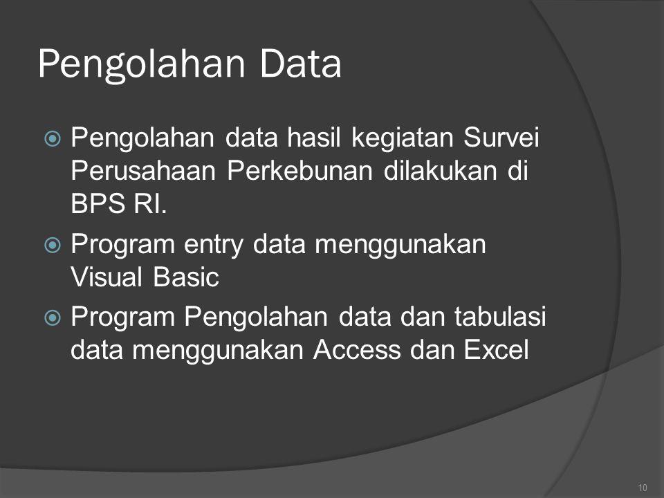 Pengolahan Data  Pengolahan data hasil kegiatan Survei Perusahaan Perkebunan dilakukan di BPS RI.  Program entry data menggunakan Visual Basic  Pro