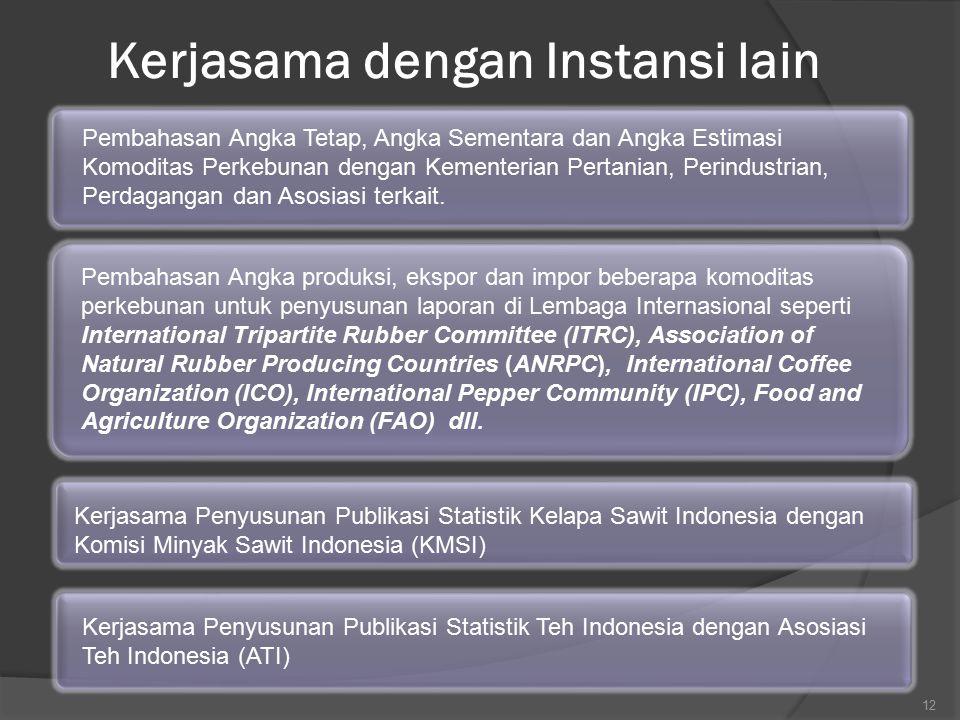 12 Kerjasama Penyusunan Publikasi Statistik Teh Indonesia dengan Asosiasi Teh Indonesia (ATI) Kerjasama Penyusunan Publikasi Statistik Kelapa Sawit In