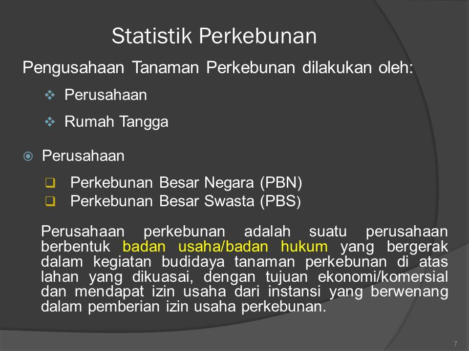 Statistik Perkebunan Pengusahaan Tanaman Perkebunan dilakukan oleh:  Perusahaan  Rumah Tangga  Perusahaan  Perkebunan Besar Negara (PBN)  Perkebu