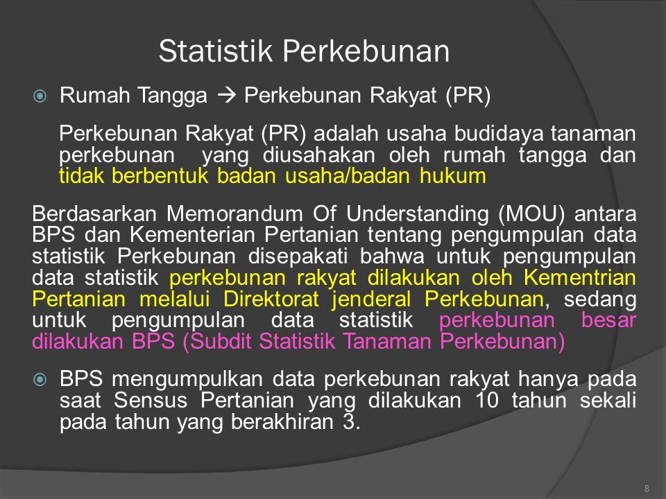Statistik Perkebunan  Rumah Tangga  Perkebunan Rakyat (PR) Perkebunan Rakyat (PR) adalah usaha budidaya tanaman perkebunan yang diusahakan oleh ruma