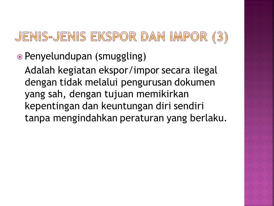  Penyelundupan (smuggling) Adalah kegiatan ekspor/impor secara ilegal dengan tidak melalui pengurusan dokumen yang sah, dengan tujuan memikirkan kepe