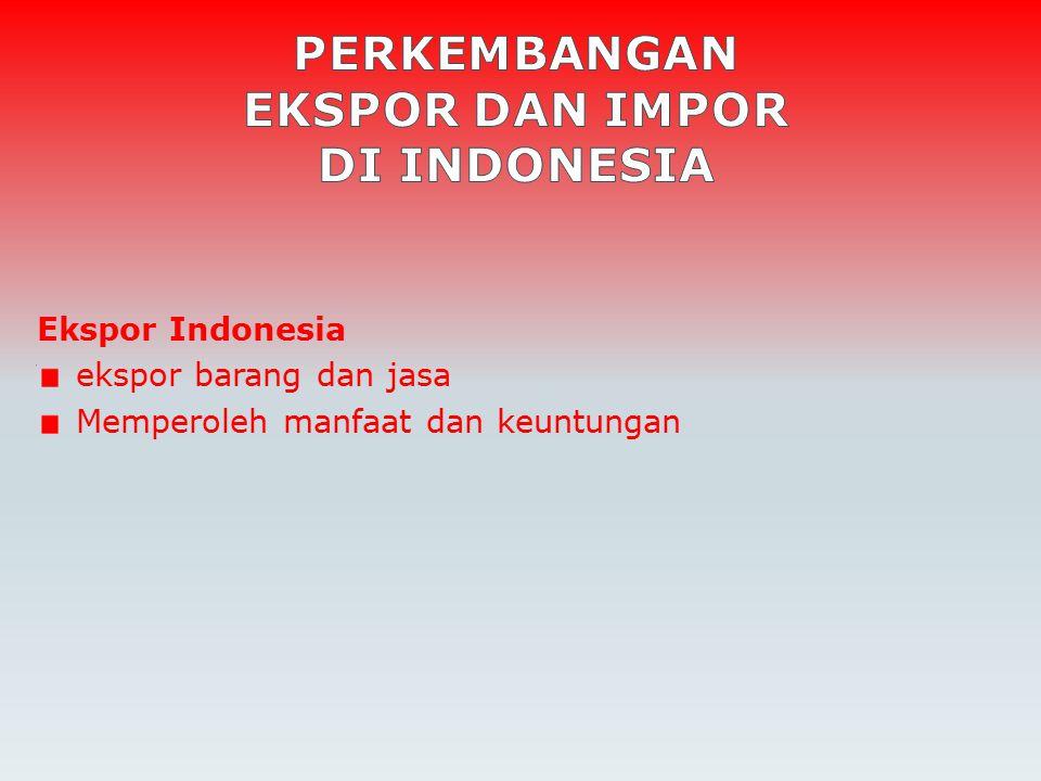 Ekspor Indonesia ekspor barang dan jasa Memperoleh manfaat dan keuntungan