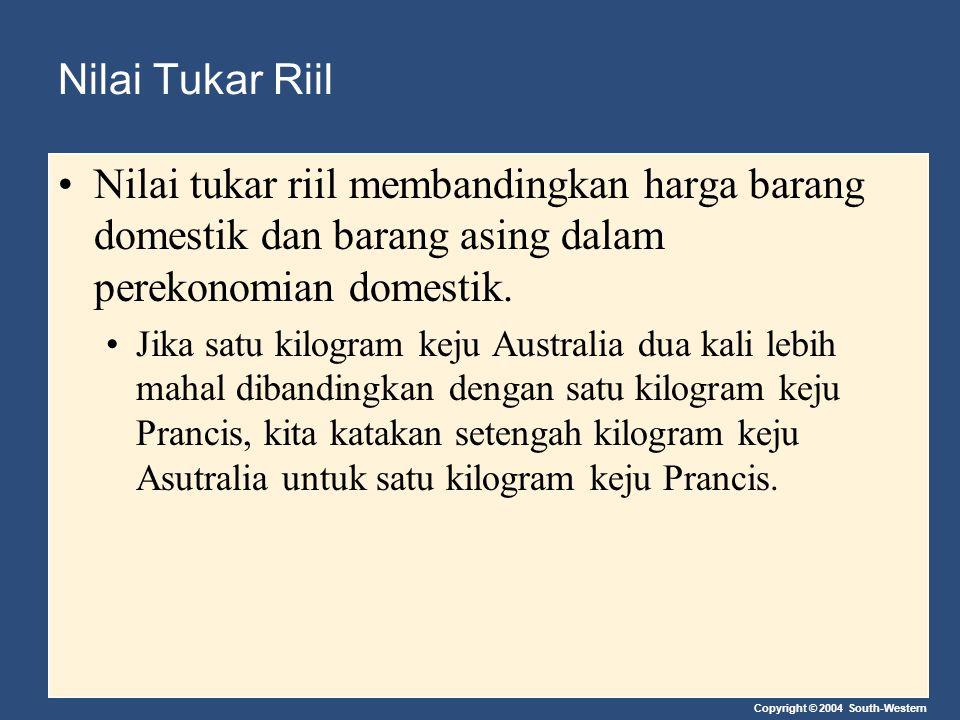 Copyright © 2004 South-Western Nilai Tukar Riil Nilai tukar riil membandingkan harga barang domestik dan barang asing dalam perekonomian domestik. Jik