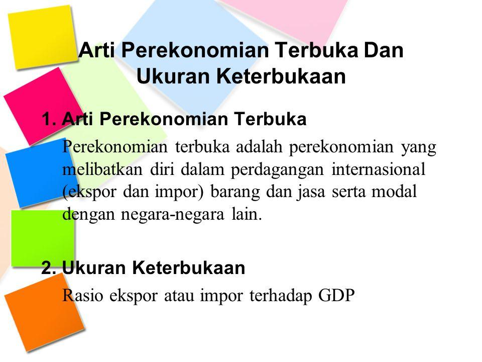 Arti Perekonomian Terbuka Dan Ukuran Keterbukaan 1. Arti Perekonomian Terbuka Perekonomian terbuka adalah perekonomian yang melibatkan diri dalam perd