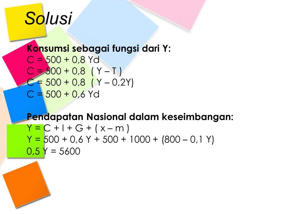 Solusi Konsumsi sebagai fungsi dari Y: C = 500 + 0,8 Yd C = 500 + 0,8 ( Y – T ) C = 500 + 0,8 ( Y – 0,2Y) C = 500 + 0,6 Yd Pendapatan Nasional dalam k