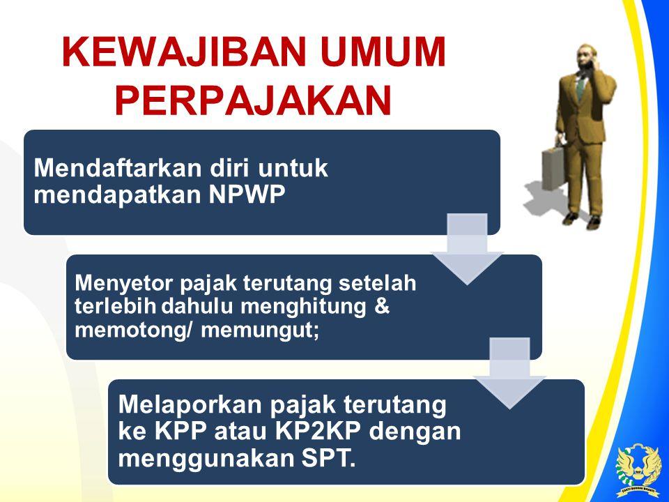 KEWAJIBAN UMUM PERPAJAKAN Mendaftarkan diri untuk mendapatkan NPWP Menyetor pajak terutang setelah terlebih dahulu menghitung & memotong/ memungut; Me