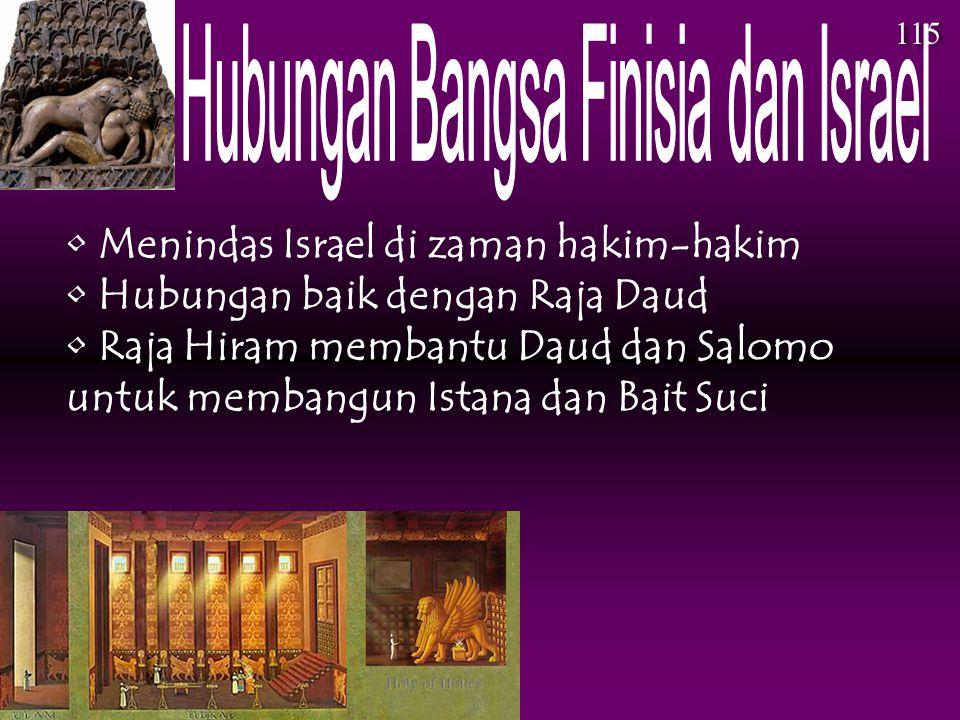 Menindas Israel di zaman hakim-hakim Hubungan baik dengan Raja Daud Raja Hiram membantu Daud dan Salomo untuk membangun Istana dan Bait Suci 115