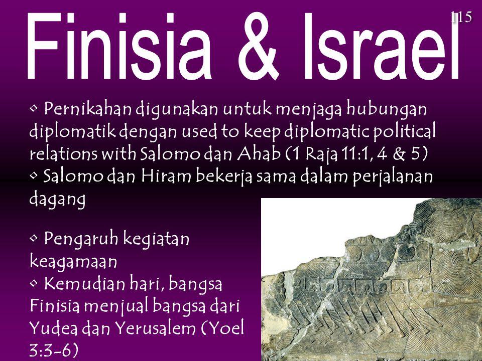 Pernikahan digunakan untuk menjaga hubungan diplomatik dengan used to keep diplomatic political relations with Salomo dan Ahab (1 Raja 11:1, 4 & 5) Sa