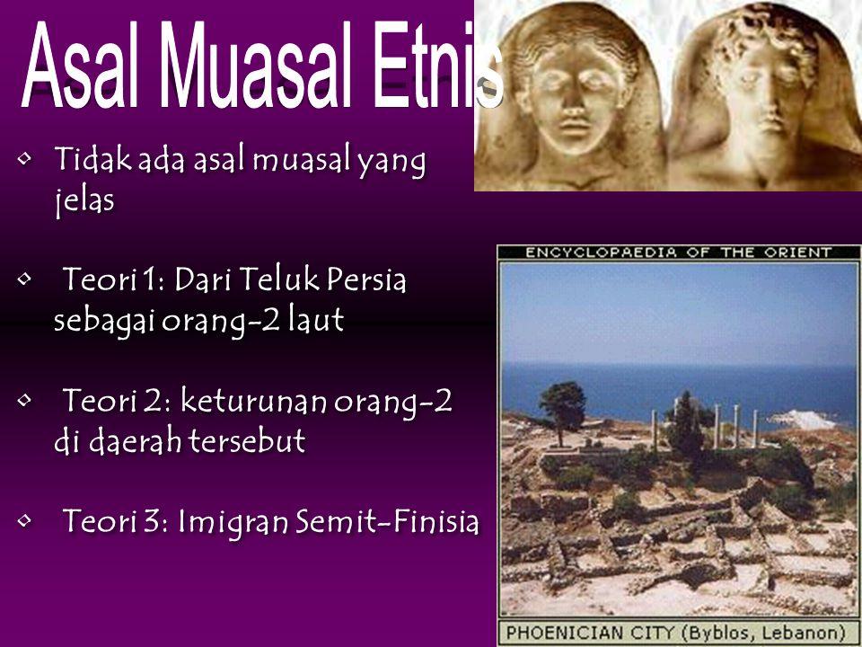 Tidak ada asal muasal yang jelas Teori 1: Dari Teluk Persia sebagai orang-2 laut Teori 2: keturunan orang-2 di daerah tersebut Teori 3: Imigran Semit-