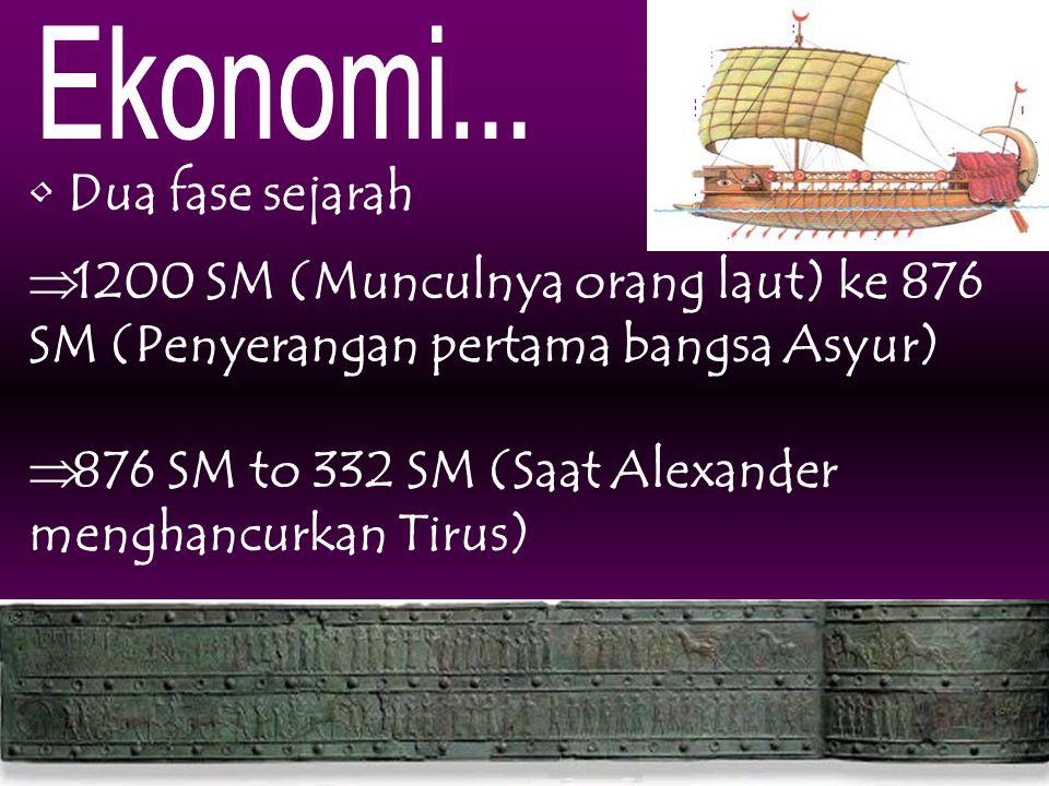 Dua fase sejarah  1200 SM (Munculnya orang laut) ke 876 SM (Penyerangan pertama bangsa Asyur)  876 SM to 332 SM (Saat Alexander menghancurkan Tirus)