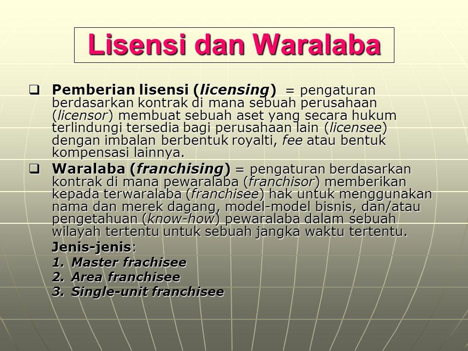 Lisensi dan Waralaba  Pemberian lisensi (licensing) = pengaturan berdasarkan kontrak di mana sebuah perusahaan (licensor) membuat sebuah aset yang se