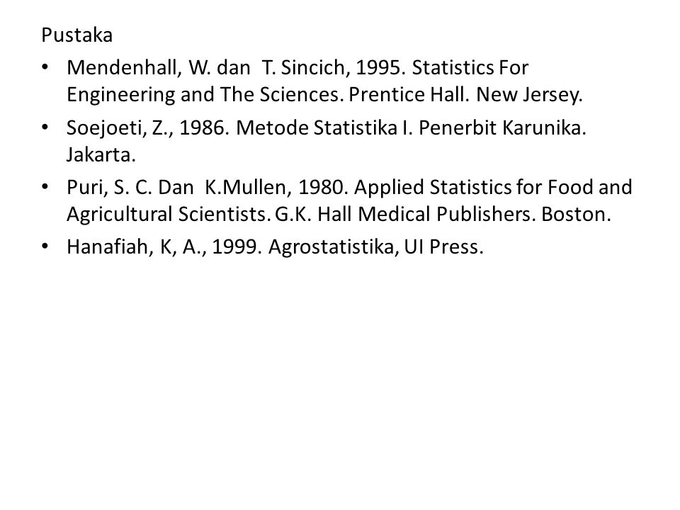 Pustaka Mendenhall, W. dan T. Sincich, 1995. Statistics For Engineering and The Sciences. Prentice Hall. New Jersey. Soejoeti, Z., 1986. Metode Statis