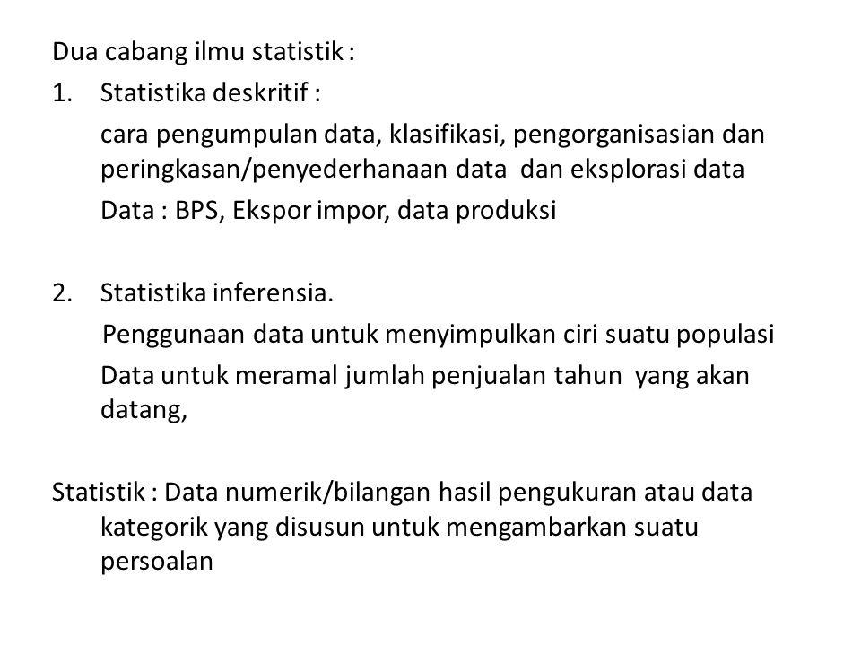Dua cabang ilmu statistik : 1.Statistika deskritif : cara pengumpulan data, klasifikasi, pengorganisasian dan peringkasan/penyederhanaan data dan eksp
