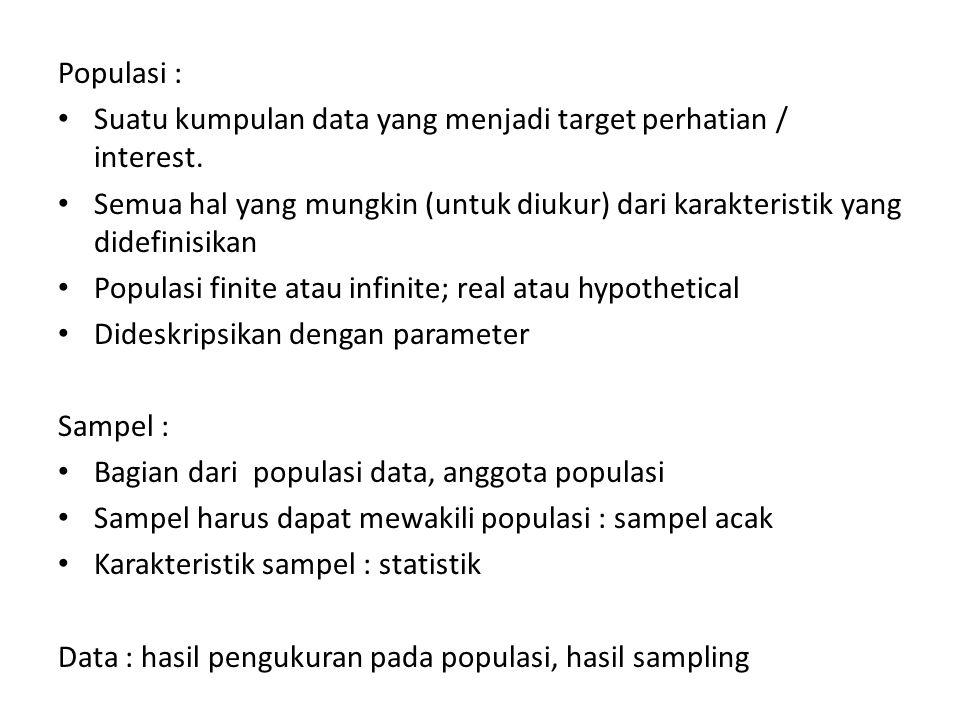 Populasi : Suatu kumpulan data yang menjadi target perhatian / interest. Semua hal yang mungkin (untuk diukur) dari karakteristik yang didefinisikan P