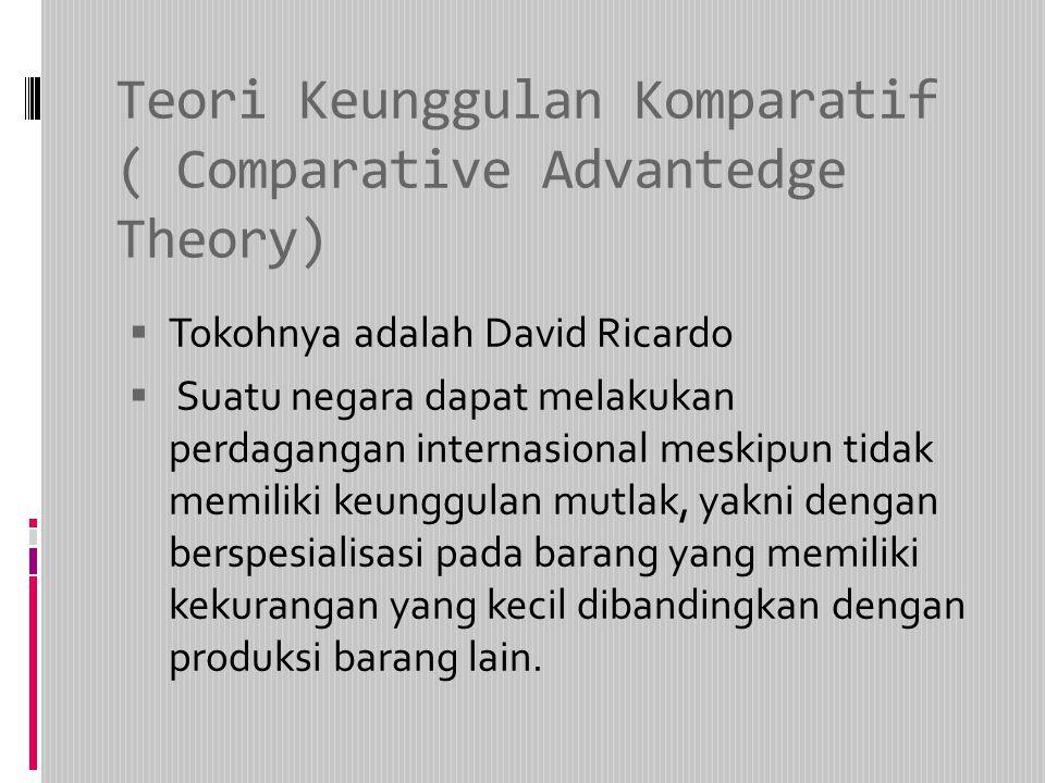 Teori Keunggulan Komparatif ( Comparative Advantedge Theory)  Tokohnya adalah David Ricardo  Suatu negara dapat melakukan perdagangan internasional