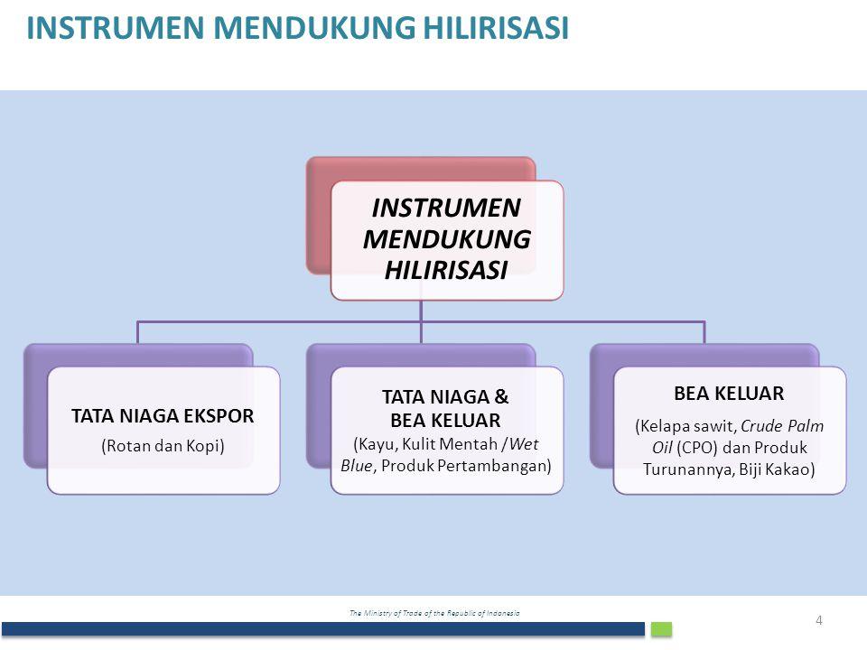 The Ministry of Trade of the Republic of Indonesia INSTRUMEN MENDUKUNG HILIRISASI TATA NIAGA EKSPOR (Rotan dan Kopi) TATA NIAGA & BEA KELUAR (Kayu, Kulit Mentah /Wet Blue, Produk Pertambangan) BEA KELUAR (Kelapa sawit, Crude Palm Oil (CPO) dan Produk Turunannya, Biji Kakao) 4