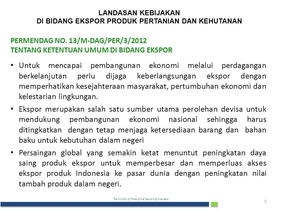 The Ministry of Trade of the Republic of Indonesia LANDASAN KEBIJAKAN DI BIDANG EKSPOR PRODUK PERTANIAN DAN KEHUTANAN PERMENDAG NO.