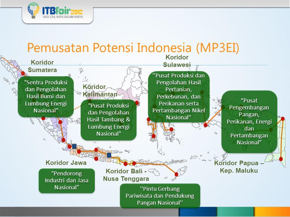 Pemusatan Potensi Indonesia (MP3EI) Koridor Sumatera Koridor Kalimantan Koridor Sulawesi Koridor Jawa Koridor Bali - Nusa Tenggara Koridor Papua – Kep